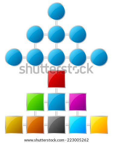 Topology, hierarchy charts - stock vector