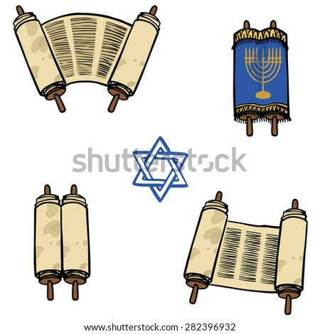 Torah. Old scrolls in different forms. Vector illustration - stock vector