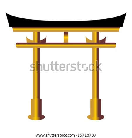 Torii gate representation isolated over white background