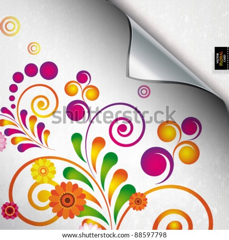Torn floral background for gift design. Bright decor with abstract flowers. - stock vector