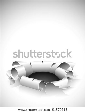 torn hole in the paper with bent edges vector illustration - stock vector