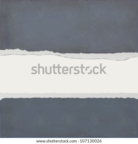 Torn paper against a dark background with abstract pattern - stock vector
