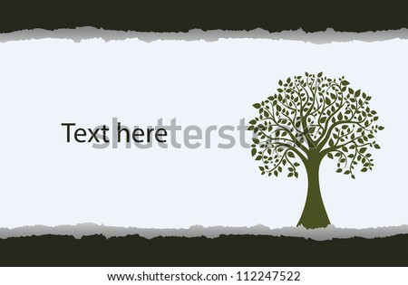 Torn paper background with a silhouette of a tree, vector - stock vector