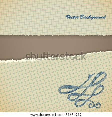 Torn paper borders with soft shadow. Vintage background. - stock vector