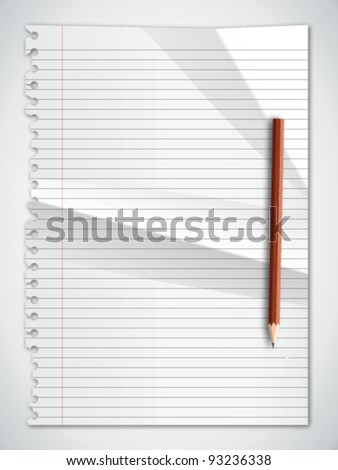 Torn Paper Crumpled with Pencil Vector - stock vector