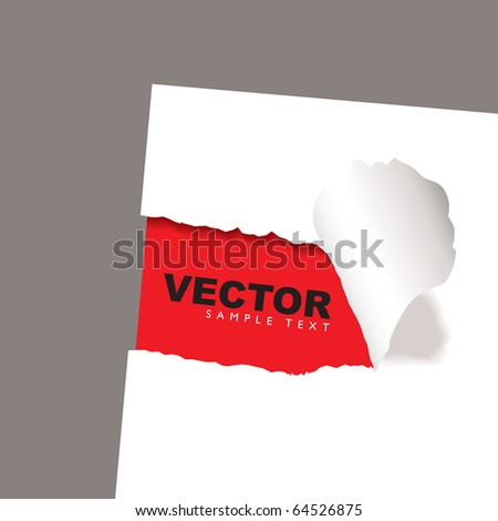 torn paper icon with red background and copy space - stock vector