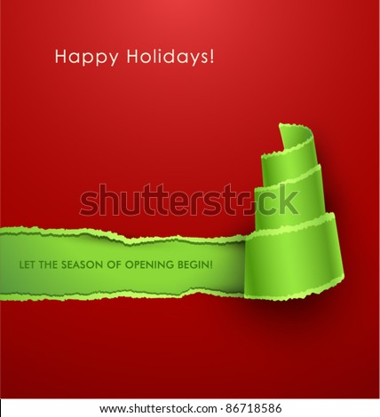 Torn paper in the shape of Christmas tree. Vector Illustration - stock vector