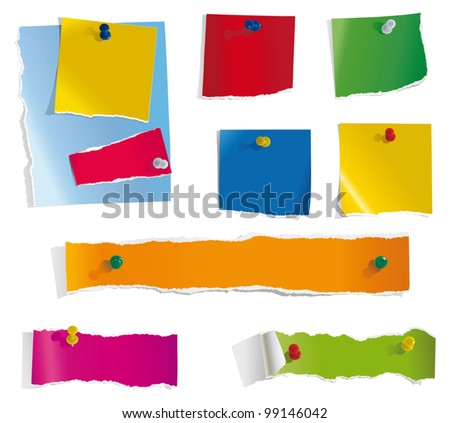 torn paper notes - stock vector
