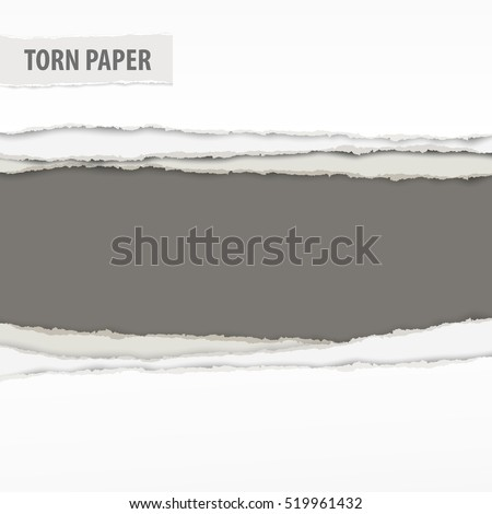 Torn paper pieces with space for text on grey background, presentation concept. Vector illustration