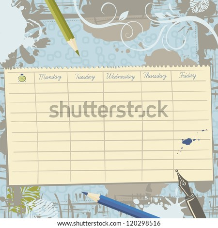 Torn paper sheet with school timetable template on vintage background - stock vector