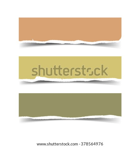 Torn paper slices for banner, header, divider. Pastel torn paper colorful pieces. Vector paper stripes for scrapbooking with rough edges. Vector design elements - colored paper with ripped edges.