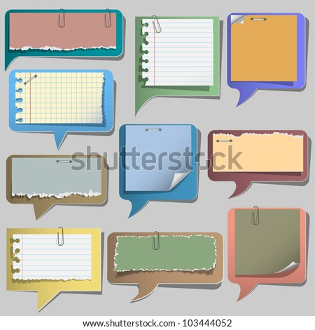 Torn paper speech bubbles.Vector set - stock vector
