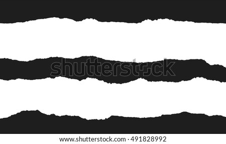 Torn paper vector, design element black and white