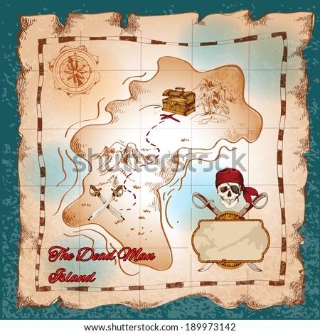 Torn paper vintage pirate treasure map on dead man island vector illustration - stock vector