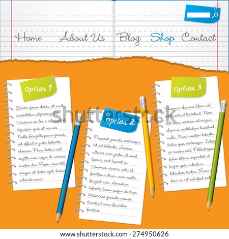 Torn paper website template design with pencils - stock vector