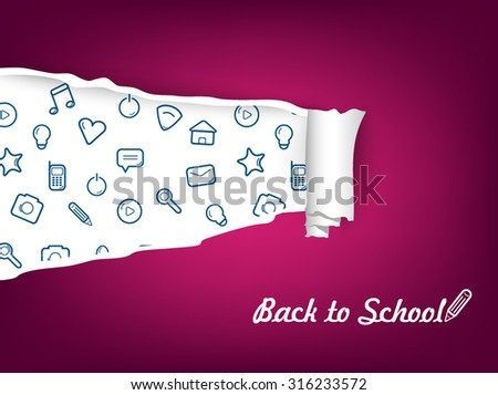 Torn paper with icon. Vector illustration. Back to school. - stock vector