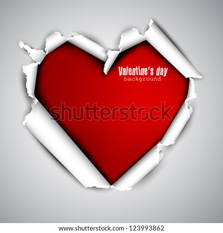 Torn paper with space for text. Red heart. Valentine's day vector background - stock vector