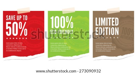 Torn pieces of paper advertising a sales event, limited edition offer and an eco-friendly message - stock vector