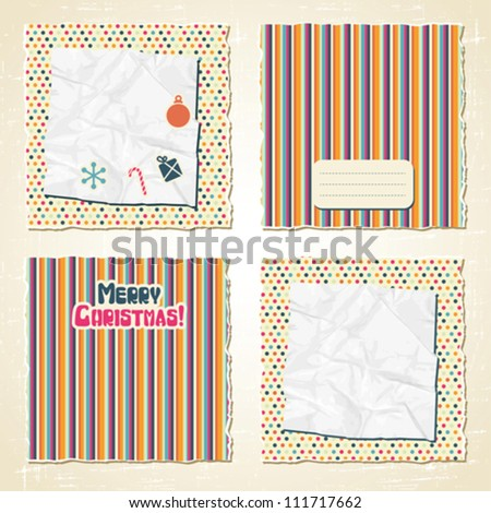Torn scratch retro paper with Christmas decorations. - stock vector