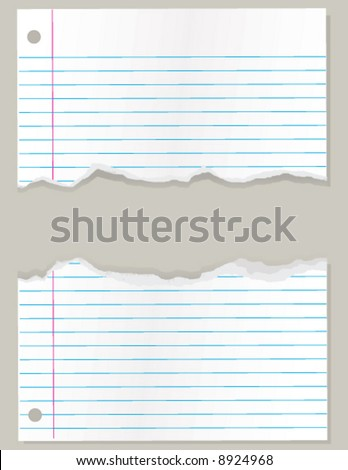Torn sheet of lined school paper vector illustration - stock vector