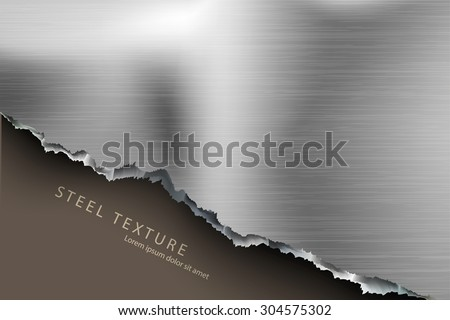 Torn steel sheet of paper with text - stock vector