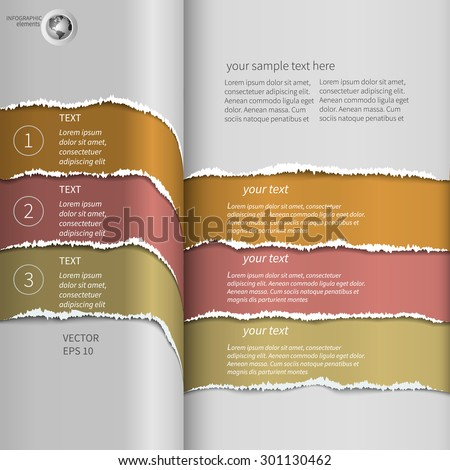 torn striped infographics Orange - stock vector