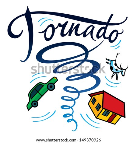 Tornado hurricane typhoon disaster storm house car cow damage - stock vector