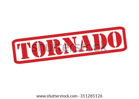 TORNADO red Rubber Stamp Vector over a white background. - stock vector