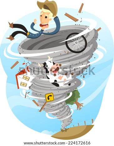 Tornado Storm Twister Cloud Wind Rain Weather, vector illustration cartoon. - stock vector