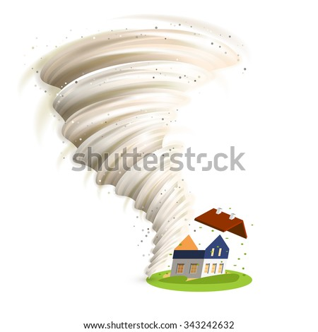 Tornado swirl damages village house roof vector illustration - stock vector