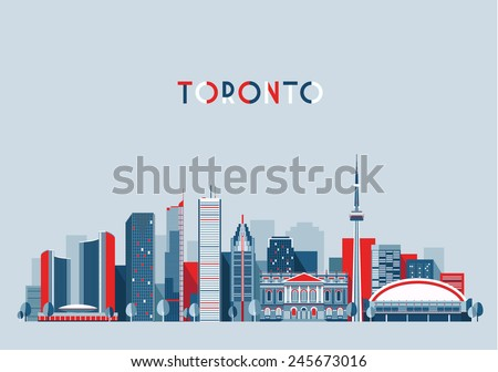 Toronto (Canada) city skyline vector background. Flat trendy illustration. - stock vector
