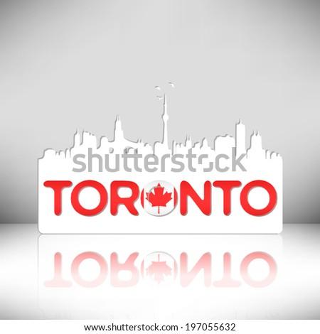 Toronto Canada skyline silhouette vector design. Greeting card illustration. - stock vector