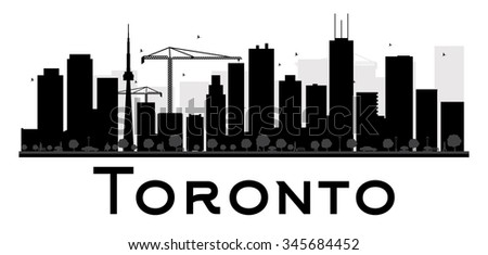 Toronto City skyline black and white silhouette. Vector illustration. Simple flat concept for tourism presentation, banner, placard or web site. Business travel concept. Cityscape with landmarks - stock vector