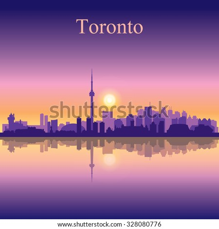 Toronto city skyline silhouette background, vector illustration - stock vector