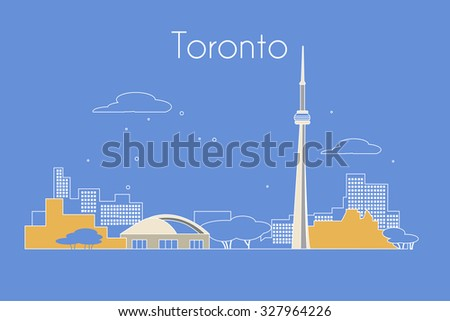 Toronto City travel vector background. Detailed skyline silhouette. - stock vector