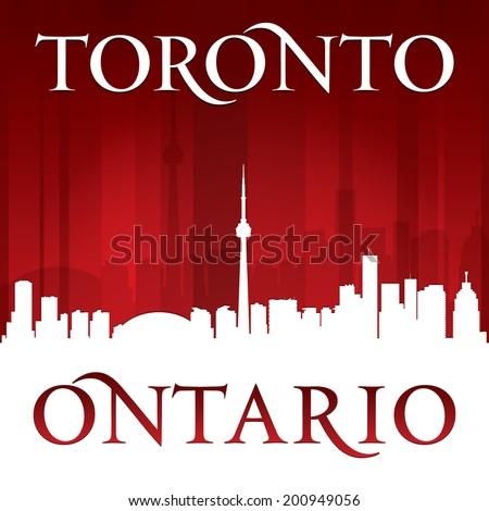 Toronto Ontario Canada city skyline silhouette. Vector illustration - stock vector