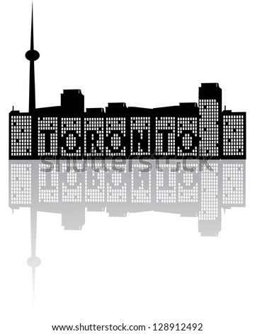 Toronto Skyline Black and White EPS 8 vector, grouped for easy editing. No open shapes or paths. - stock vector