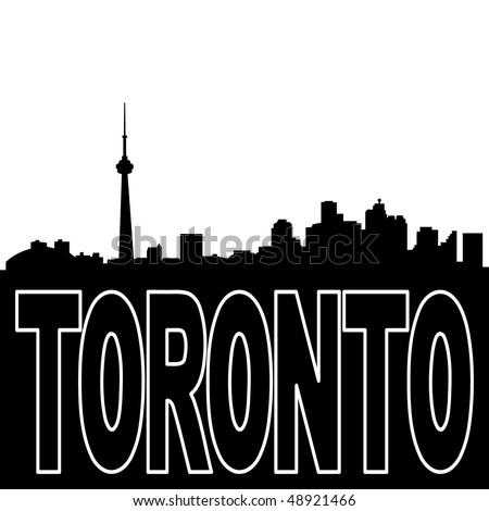 Toronto skyline black silhouette on white illustration - stock vector