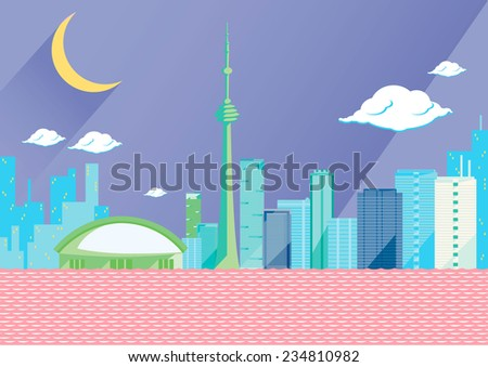 Toronto skyline by night, flat vector illustration. On the seaside, some of the tallest skyscrapers in the Canadian city: CN tower, first Canadian Place, the skydome. Half shaped moon and violet sky - stock vector