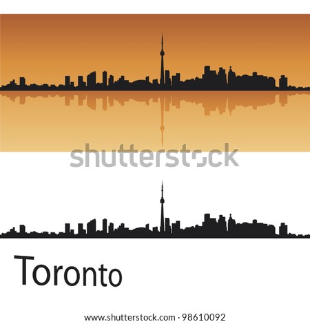 Toronto skyline in orange background in editable vector file - stock vector