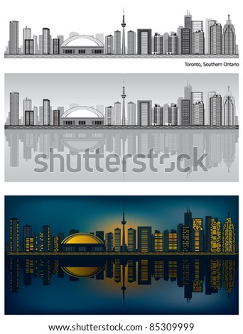 Toronto skyline with reflection in water - stock vector