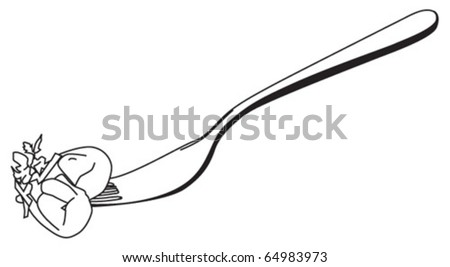 Tortelloni pasta on a fork - stock vector