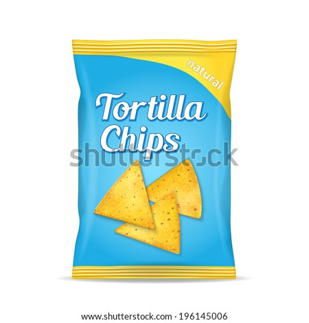 Tortilla corn chips packet bag, isolated on white background, vector illustration - stock vector