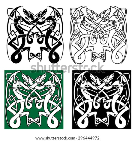 Totem animals ornament in tribal style with flying dragons, decorated by traditional celtic  or scandinavian knot pattern. For tattoo or art design - stock vector