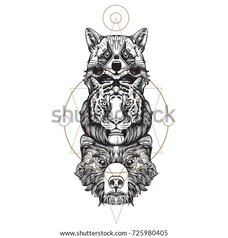 totem bear tiger raccoon illustration creating stock vector 725980405 shutterstock. Black Bedroom Furniture Sets. Home Design Ideas