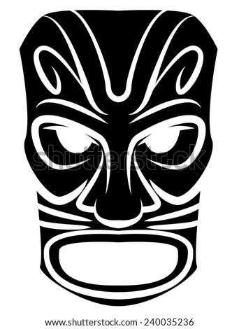 Totem Mask Black Silhoutte Of - stock vector