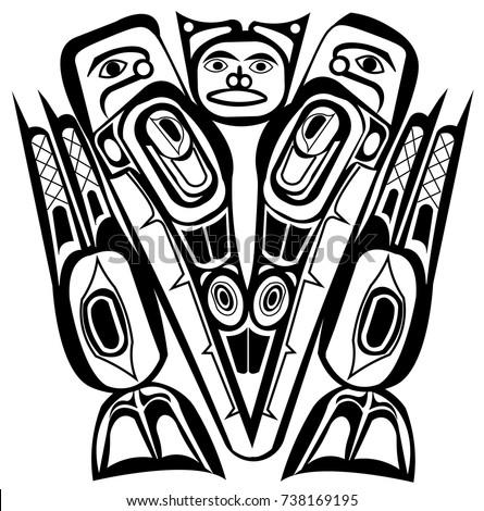 totem mask ethnic themes tattoo ethnic stock vector 738169195 shutterstock. Black Bedroom Furniture Sets. Home Design Ideas