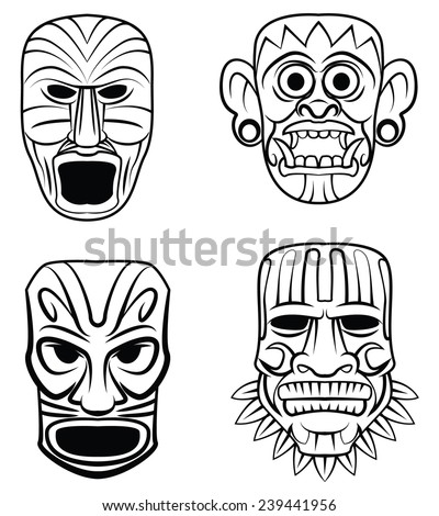 Totem Mask Set Collection - stock vector