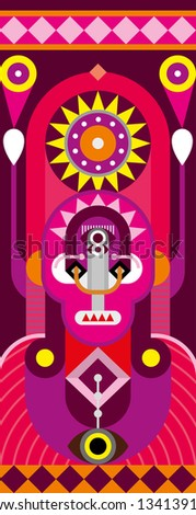 Totem pole. Man Portrait - abstract vector illustration. - stock vector