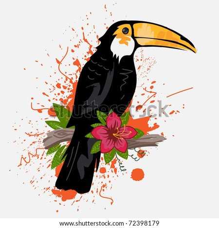 Toucan and tropical flower - stock vector